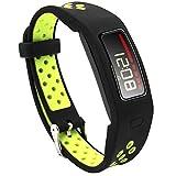 Elespoto Silikon Garmin Uhrenarmband Erstatzband Replacement Ersatz Armband für Garmin Vivofit 1 Armband Tracker (Black Yellow)