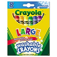 Crayola® - Washable Crayons, Large, 8 Colors/Box - Sold As 1 Box - Wipes off most nonporous surfaces with warm water and a sponge.