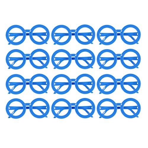 Nerd Teen Kostüm - Amosfun 12 stücke runde brillengestell Candy Farbe brillengestell Dress up Party Supplies für Kinder Teens (himmelblau)