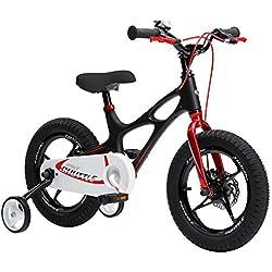RoyalBaby Space Shuttle bicicleta infantil de magnesio para niños y niñas, de 4 a 6 años, de 14-16-18 pulgadas, con ruedas de entrenamiento y soporte de estacionamiento