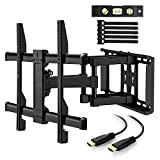 Perlegear Support mural TV Orientable Et Inclinable – Support Mural Inclinable Pour LED, LCD, OLED, TV A Écran Plat De 23 à 55 Pouces – Support Mural Ultra Résistant Qui Inclus Câble HDMI 1.8m, Niveau à Bulle, Attaches De Câble. (37-70' / Inclinable et Orientable)