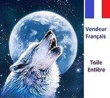 5D Stickerei Diamant Leinwand Volle, Komplettset Verkäufer Französisch, der Wolf und der Vollmond, Größe 40x 50cm
