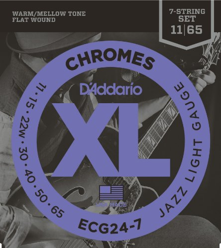 Chrome 7 (D'Addario ECG24-7 XL 7-saitiger Jazz Saitensatz, Light 0,027 cm - 0,17 cm (.011 - .065 Zoll))
