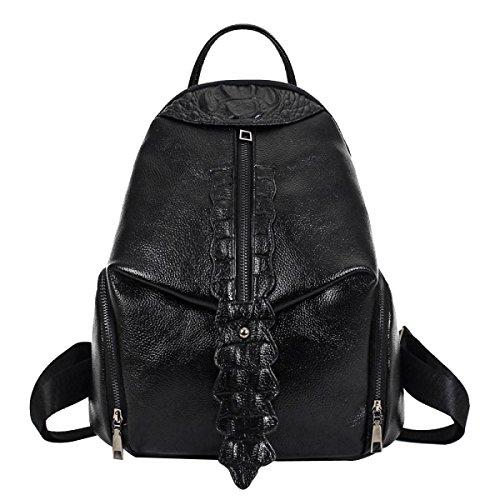 Damen PU Weich Krokodil Bunt Mode All-Match Veränderbar Rucksack Handtasche Black