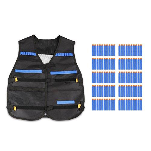 QQPOW Taktische Weste Nerfweste Mit 100 blauen Kugeln Nerf-Anzug Weste und Kugeln 100pcs