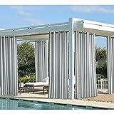 Coastal Cabana Stripe Woven Outdoor Vorhang mit Ösen, grau, 50