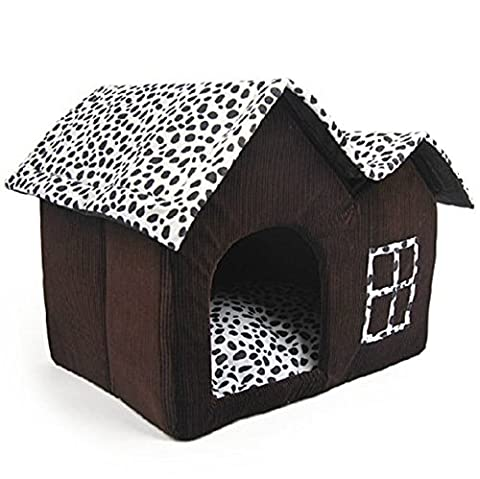 CDQ Luxury High-end Cow Style Soft Large Pet House Indoor Coffee Brown Dog Room Cat Bed (Double Top)
