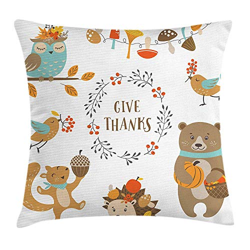 Kids Thanksgiving Throw Pillow Cushion Cover, Giving Thanks Being Grateful Cartoon Animals Grizzly Bear Wild Mushrooms, Decorative Square Accent Pillow Case, 18 X 18 inches, Multicolor