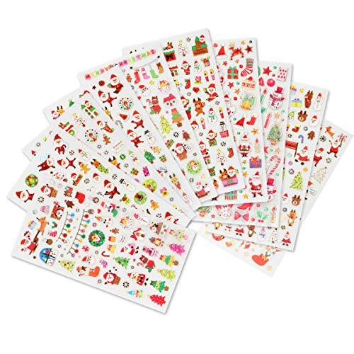 Naler Weihnachtsaufkleber Weihnachten Sticker für Scrapbooking Wehinachtsgeschenk Dekoration, 10 Bogen
