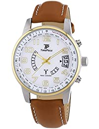 Time Piece Herren-Armbanduhr XL Funk Analog Quarz Leder TPGS-10289-12M
