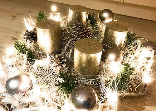 ❄❄❄XXL-Adventskranz❄❄❄ Handmade von der Schwedischen Bastelmanufaktur, moderner Weihnachtskranz, LED und Naturkerzen, Landhausstil