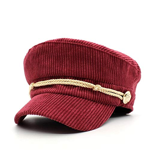 mlpnko Damen Wild Hat Cord gestreifte Mütze Seil klebrige Mütze Flat Top Navy Cap Student Cap rot verstellbar
