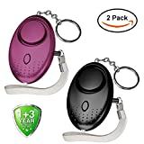 Abree 2 Pack Personal Alarm Keychain, 140db Police Approved Mini Loud Staff Panic Rape Attack Safety Security Alarm Keyring with Torch for Women Kids Elderly Girls Adventurer