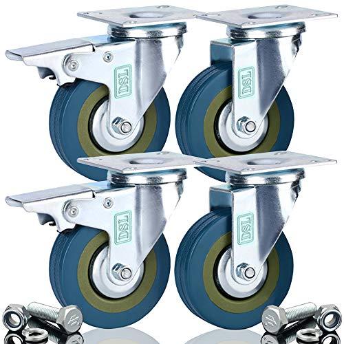 DSL Lot de 4 roulettes pivotantes ultra-résistantes en caoutchouc noires 75 mm pouvant supporter jusqu'à 360 KG et fixations