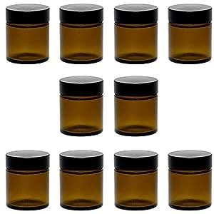 Viva Haushaltswaren 10 kleine Glastiegel 30 ml/Salbentiegel/Cremetiegel aus Braunglas, inkl. Etiketten