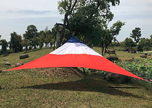 "Mitef UV Block Triangle Sunshade Sail Canopy for Outdoor Patio Garden Sun Shelter,16'5"" x 16'5"" x 16'5""'(5×5×5m),Red,White,and Blue"