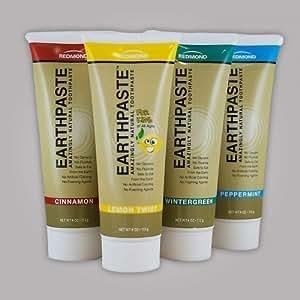 Earthpaste ~ 5 Pack ~ Lemon Twist! Wintergreen! Cinnamon! Peppermint! Spearmint!~ FIVE Flavors ~ (Quintuple Flavor) by Redmond Trading Company