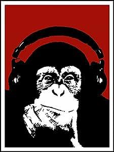 Imagenation Banksy Monkey Headphones Red 60cm X 80cm