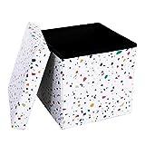 SONGMICS Sitzbank, 38 x 38 x 38 cm Faltbarer Sitzhocker, Aufbewahrungsbox, trägt bis zu 300 kg, Terrazzo Muster, LSF30C
