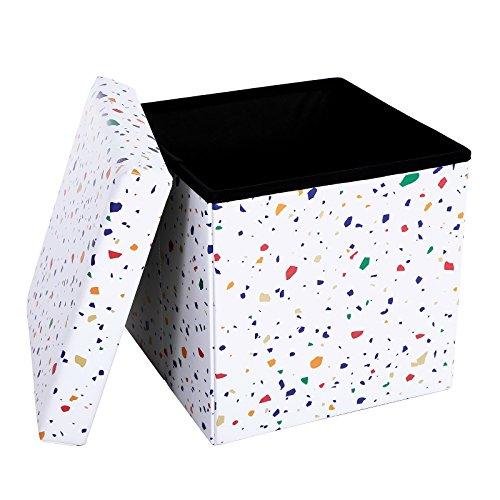 Songmics 38 x 38 x 38 cm cassapanca cubo portaoggetti pieghevole, tavolino da caffè, sgabello, regge fino a 300 kg, motivo terrazzo, lsf30c
