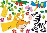 infactory Sticker-Bögen: Tierisch lustige Wandtattoos fürs Kinderzimmer Madagaskar (Wanddekos)