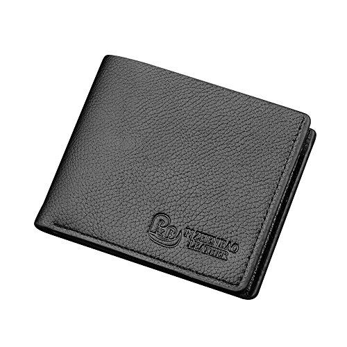 iVotre Brieftasche Für Männer, Bei Denen Lichee - Muster, Multi - Card Slots Bild Inhaber, Kurze Casual Stil, Soft - Pu - Leder, Leicht Bifold Handtasche - Schwarz black
