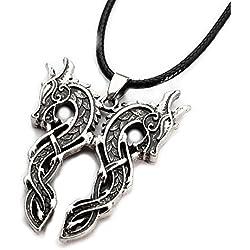 Colgante Dragones celtas gemelos talisman vikingo con collar de cuero