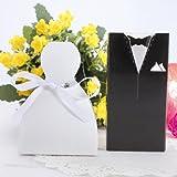 50 pcs Bride Groom Tuxedo Ribbon Dress Gown Wedding Party Favor Candy Box