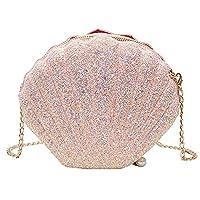 Jeune Lueur Women Girls Little Mermaid Seashell Purse Cross-body Shoulder Bags Glitter Sequins Chain Evening Purse