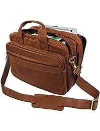 STILORD 'Leopold' Umhängetasche Herren Ledertasche Aktentasche Schultertasche Lehrertasche Notebooktasche Laptoptasche Unitasche Collegetasche echtes Büffel-Leder