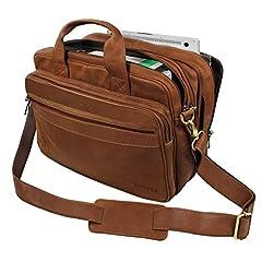 Idea Regalo - STILORD Grande borsa in pelle da Insegnante Professore Portadocumenti a tracolla per l'Ufficio Lavoro A4 raccoglitori in cuoio Uomo Donna, marrone