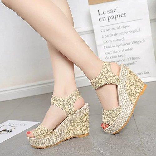 Lgk & fa estate sandali da donna estate impermeabile piattaforma scarpe con tacco, stivali freddo pesce bocca Dew toe Beige