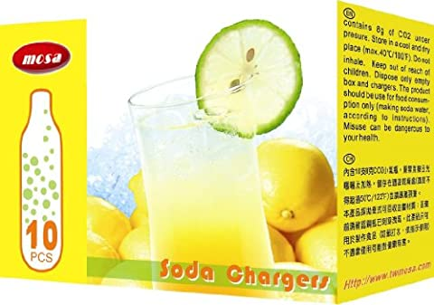 30 - MOSA CO2 8g soda chargers (BW10 CO2) - seltzer water cartridge - 3 boxes of 10