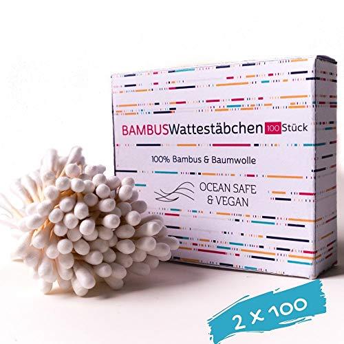 Bambus und Baumwolle Wattestäbchen - 100% Biologisch Abbaubar - 2x100 - Vegan & Nachhaltig, Plastikfrei Zero Waste Produkte, q-tips, qtips bambus, ohrstäbchen ohne plastik