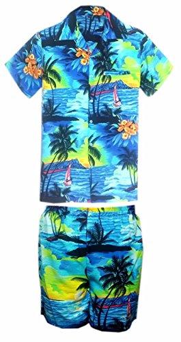 2ef5ae510 SAITARK Mens Hawaiian Shirt Stag Beach Hawaii Aloha Party Summer Holiday  Fancy Palm Shirt and Short