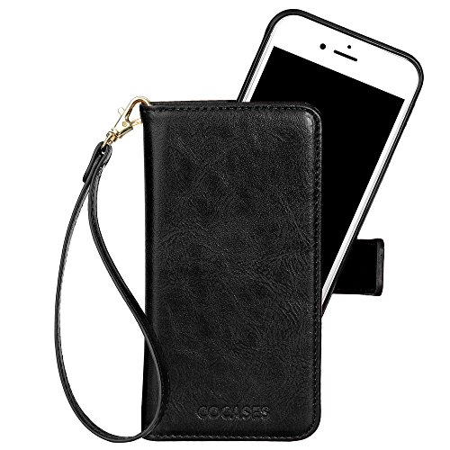 iPhone 8 Plus Hülle, iPhone 7 Plus Lederhülle, COCASES abtrennbare Book Case mit Magnetverschluss, Geldbeutel für (Türkisblau) Schwarz