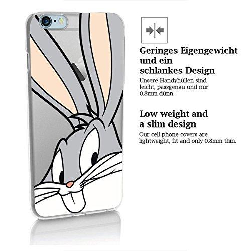 finoo | IPHONE 6 / 6S Lizensierte Hardcase Handy-Hülle | Transparente Hart-Back Cover Schale mit Looney Tunes Motiv | Tasche Case mit Ultra Slim Rundum-schutz | Tweety freut sich Bugs Bunny schaut