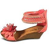 Schuhtraum Damen Sandalen Keilabsatz Blumen Glitzer Wedge Sandaletten Riemchen ST818 (39, Rot)