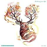 Autocollants environnementaux originaux de tatouage beau cerf mignon grande fleur...