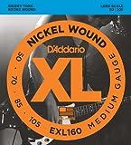 D'Addario Cordes en nickel pour basse D'Addario EXL160, Medium, 50-105, cordes longues
