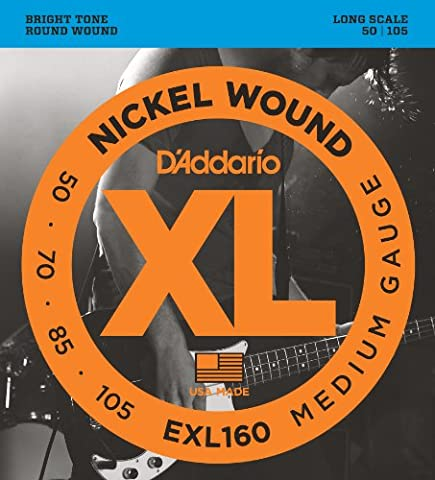 D'Addario EXL160 XL Nickel Wound Medium (.050-.105) Electric Bass Guitar Strings