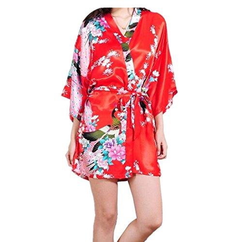 Damen Morgenmantel Kimono Negligee kurz aus Satin mit Peacock und Blumen Bademantel Rot