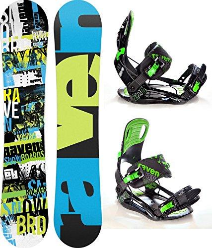 Snowboard Set: Snowboard Raven Grunge Green Carbon + Bindung Raven s220 Green XL