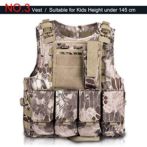 YANODA Jagdwesten Kinder Jagd Camouflage Tactical Kids Airsoft Gear Westen Männer Militärische Ausrüstung Jungen Mädchen Sniper Armee Uniform Sportbekleidung, 3, One Size