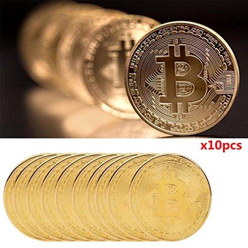 HLHN 10x Gold überzogene Bitcoin Münze Sammler Geschenk BTC Münze Kunst Sammlung physikalische (Gold, 10 Pcs)