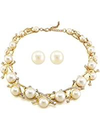 Dolly Jewels Pearl 14K Gold Plated Necklace With Simple Stud Earring For Women's