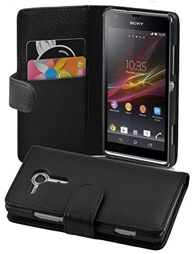 Cadorabo - Book Style Hülle für Sony Xperia SP - Case Cover Schutzhülle Etui Tasche mit Kartenfach in OXID-SCHWARZ