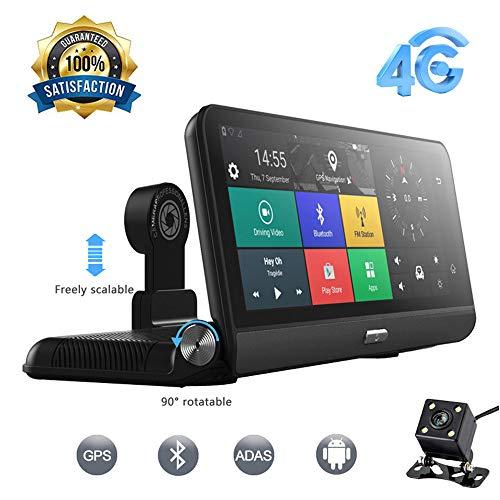 CONRAL 8 Zoll Spiegel Dash Cam Full Touchscreen, Backup Kamera Stream Media, Großbild 4G WiFi und Bluetooth GPS Navigation Driving Recorder, Handfree und FM, ADAS Warnung - Cam Der Ram