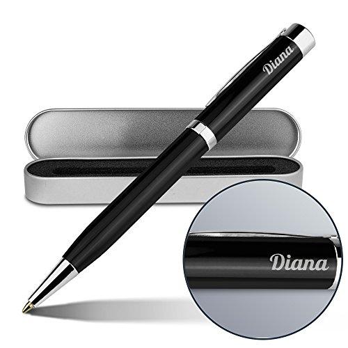 Kugelschreiber mit Namen Diana - Gravierter Metall-Kugelschreiber von Ritter inkl. Metall-Geschenkdose (Diana Metall)