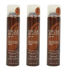 OscarBlandi Pronto Dry Styling Heat Protect Spray, 4 Oz (Pack of 3) + Makeup Blender